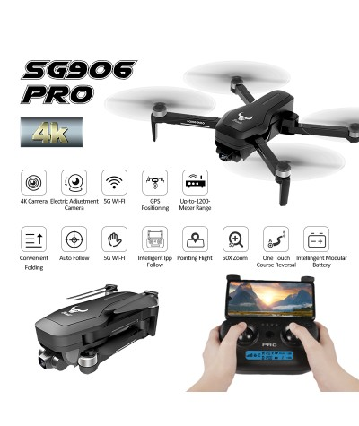 ZLRC SG906 Pro 2.4G WIFI FPV 4K HD Camera Dron 2 Axel Anti shake Self stabilizing Gimbal Brushless RC Drone Quadcopter RTF Toys|Camera Drones|   - Coolcncn