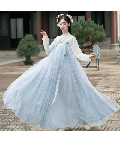 XinHuaEase Chinese National Dress Hanfu Women Cosplay Dance Set Fairy Costume Traditional Clothing Girls Plain Princess Dresses| |   - Coolcncn