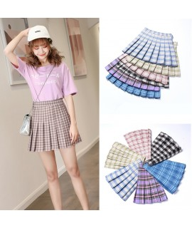 10Color Japanese JK Uniform High Waist Pleated Skirts Women Basic Plaid Skirt Girl Mini A Line Sweet Kawaii Buttoms with Legging|School Uniforms|   - Coolcncn
