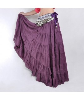 14colors Women Linen Yoga Belly Dance Skirt Elegant Stage Performance Hobo Gypsy Female Solid Color Classical Dance Costume|Belly Dancing|   - Coolcncn