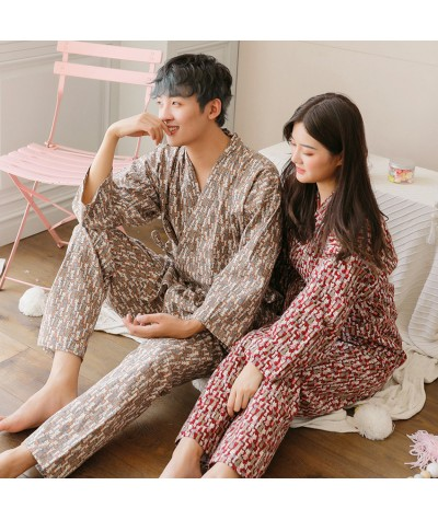 Yukata Women Men 2 Colors Couple Pajamas Sanding Long Robe Cartoon Print Cotton Loose Home Service Suit Winter Japanese Kimono|Asia & Pacific Islands Clothing|   - Coolcncn