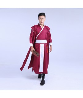 2017 Ancient Chinese Costume Men Stage Performance Outfit for Dynasty Men Hanfu Costume Satin Robe Chinese Traditional Dress Men|Chinese Folk Dance|   - Coolcncn