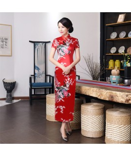 11Colors Woman Chinese Wedding Cheongsam China Traditional Elegant Flower&Peacock Split Qipao Women Silk Robe Bodycon Dresses|Cheongsams|   - Coolcncn