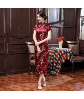 17Colors Chinese Cheongsam Traditional Wedding Qipao Woman Embroidery Elegant Split Dress Female Floral Bodycon Cheongsam|Cheongsams|   - Coolcncn