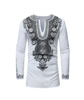 2020 African Clothes for Men Print Rich Bazin Long Sleeve Print Dashiki White Ankara New Fashion Top Mens Clothing M 3XL|Africa Clothing|   - Coolcncn