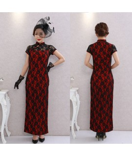 1920s Retro Oriental Chinese Cheongsam Dress for Women Nightclub Split Tight Traditional Lace Sexy Qipao Dresses Tang Suit|Cheongsams|   - Coolcncn