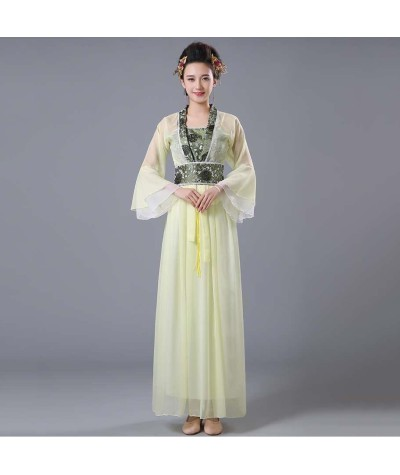 Yellow Green Blue Red Pink Chinese Oriental Dresses Tang Hanfu Girl Dance Clothes Women Traditional Chinese Fairy Costume|Chinese Folk Dance|   - Coolcncn