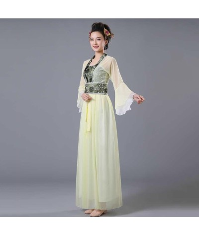 Yellow Green Blue Red Pink Chinese Oriental Dresses Tang Hanfu Girl Dance Clothes Women Traditional Chinese Fairy Costume Chinese Folk Dance    - Coolcncn