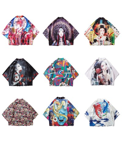 Yukata Haori Japanese Ukiyo e Kimono Cardigan Summer Women Samurai Costume Asian Clothes Printed Kimonos Jacket Mens Shirt Coat|Asia & Pacific Islands Clothing|   - Coolcncn