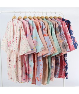 17Colors Cotton Woman Kimono Pajamas Yukata Japanese Style Floral Loose Long Sleepwear NightGown Cardigan Leisure Bathrobe|Asia & Pacific Islands Clothing|   - Coolcncn