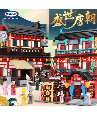 XingBao City Street Ancient Chinese Architecture The Dining & Entertainment Places Model Kit Building Blocks Kids Toys Bricks|Blocks|   - Coolcncn