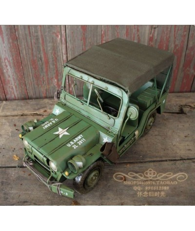 World War II American Willis Jeeps Green Pentium Iron Car Ironwork Old Military Vehicle Model Props Decoration Birthday Gift-in Figurines & Miniatures from Home & Garden on Coolcncn.com