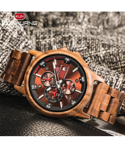 Wooden Men's Watches Casual Fashion Stylish Wooden Chronograph Quartz Watches Sport Outdoor Military Watch Gift for Man|Quartz Watches|   - Coolcncn
