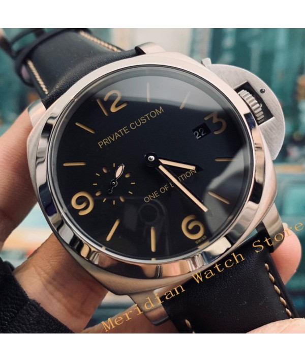 44mm Men Automatic Mechanical Military Watch Silver Stainless Steel Leather Strap Clock Men's Waterproof Luminous Wristwatch Mechanical Watches    - Coolcncn
