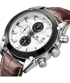 Leather Military Chronograph Megir Brand Watch