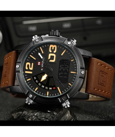 2018 NAVIFORCE Men's Fashion Sport Watches Men Quartz Analog Date Clock Man Leather Military Waterproof Watch Relogio Masculino-in Quartz Watches from Watches on Coolcncn.com  