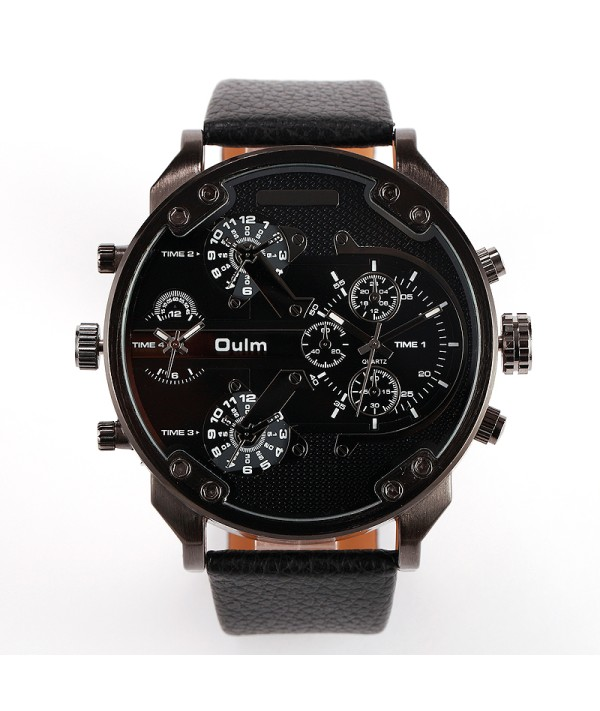 2017 New Arrival Top Brand Luxury Japan movt Quartz 2 Time Zone Casual Watches Big FaceMen OULM 3548 Watch Relapan quartz